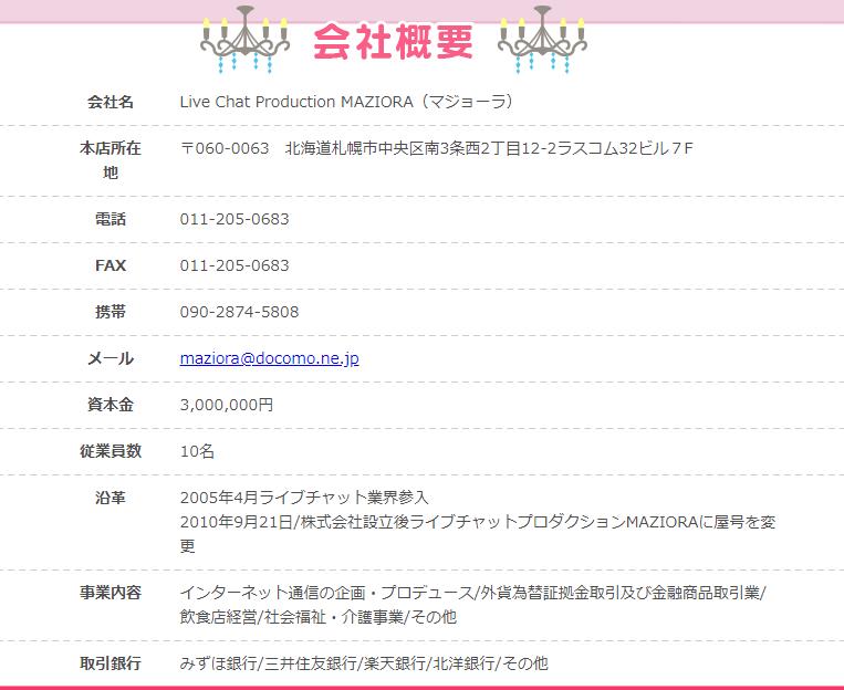 マジョーラ札幌 会社概要 運営者情報